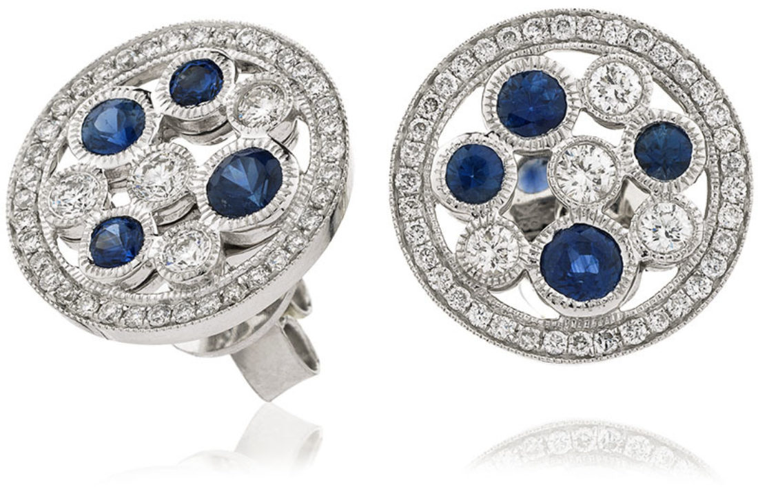 Se3963 Bs 1 50 Cts 18 Ct Blue Sapphire 0 96 Ct
