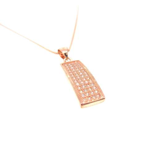 Silver Rose Gold Plated Cubic Zirconia Necklace