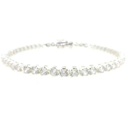 Silver Cubic Zirconia Line Bracelet