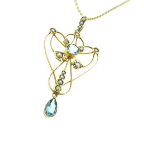 Antique Aquamarine & Seed Pearl Necklace