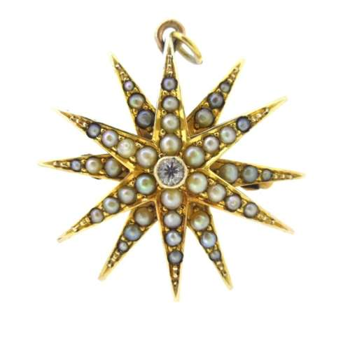 Antique Diamond & Seed Pearl Brooch / Pendant