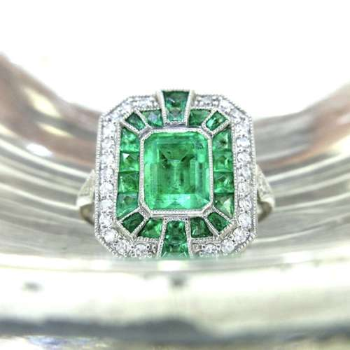 Emerald & Diamond Art Deco Style Ring
