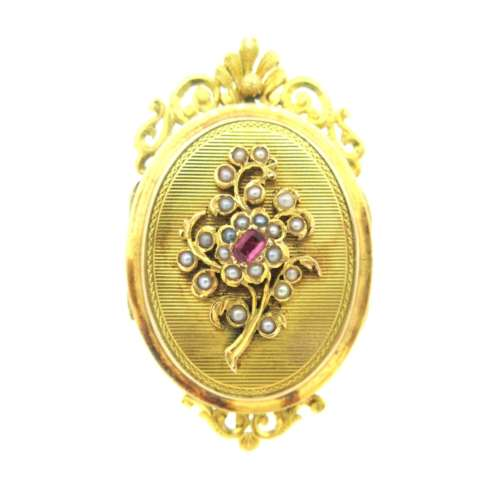 Antique Pink Sapphire & Seed Pearl Locket