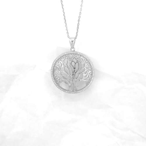 Silver & Cubic Zirconia Tree Of Life Necklace