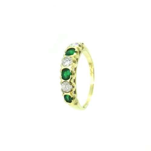 Emerald & Diamond Seven Stone Ring