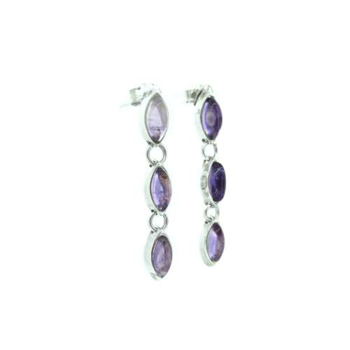 Silver Amethyst Drop Earrings