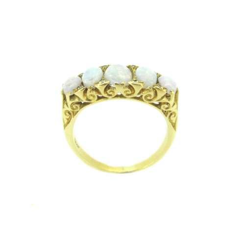 Vintage Opal & Diamond Five Stone Ring