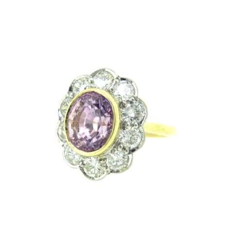 Lilac Sapphire & Diamond Ring