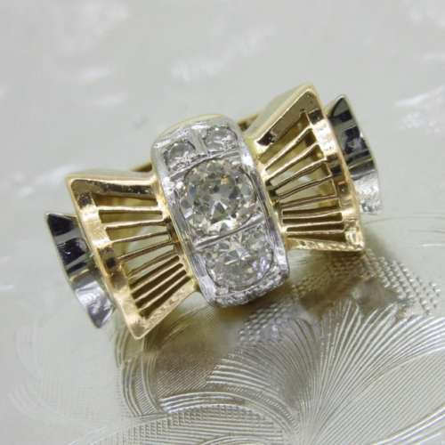 Art Deco Bow Diamond Ring