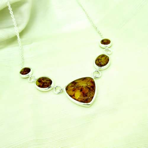 Amber & Silver Necklace