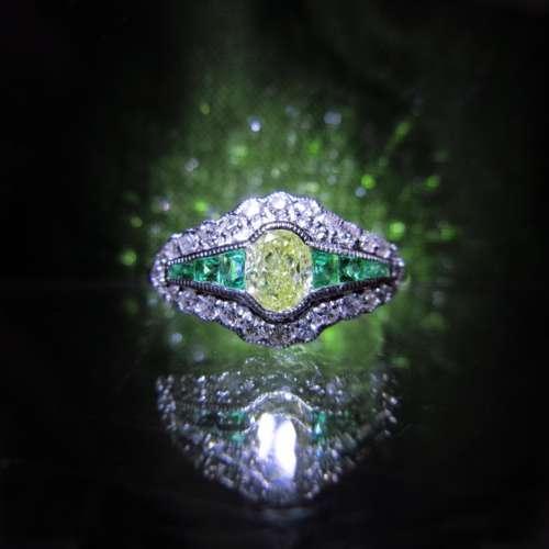 Art Deco Style Lemon Diamond & Emerald Ring