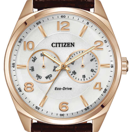 Gents Rose Gold Colour Eco-Drive Watch