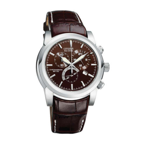 Gents Eco-Drive Leather Strap Watch