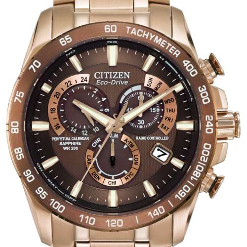 Gents Eco-Drive Rose Gold Colour Watch