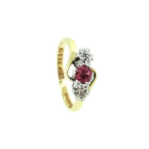 Vintage Ruby & Diamond Three Stone Ring