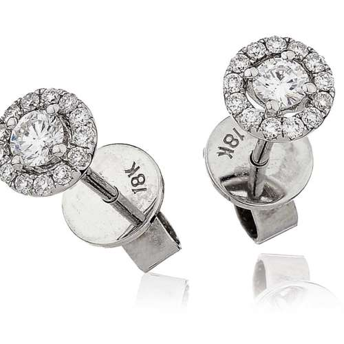 Diamond Ear Studs with Halo Surround