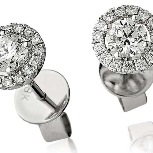 Diamond Stud Earrings with Halo Surround