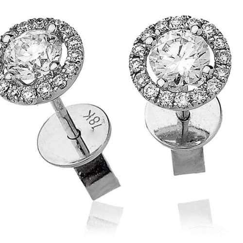 Diamond Stud Earrings with Halo Surround