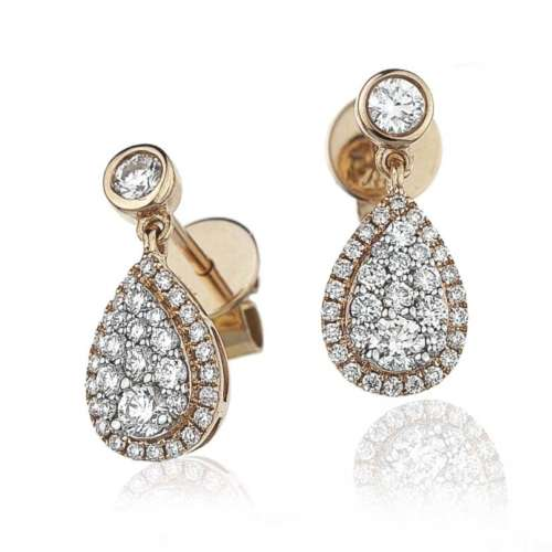 Rose Gold Diamond Cluster Pear-drop Earrings