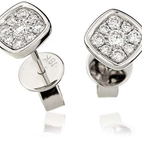 Square Diamond Cluster Earrings