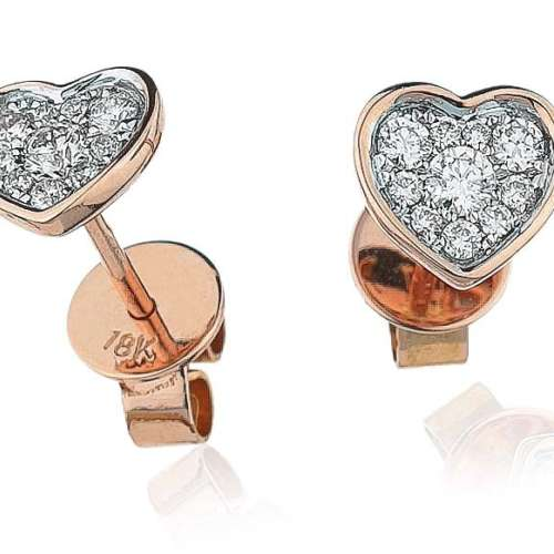 Diamond Heart Cluster Earrings