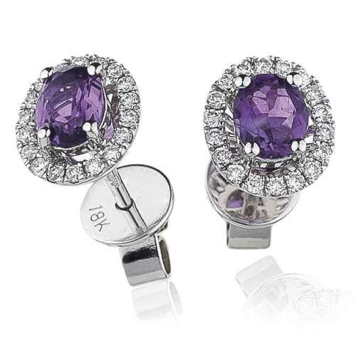 Amethyst & Diamond Stud Earrings