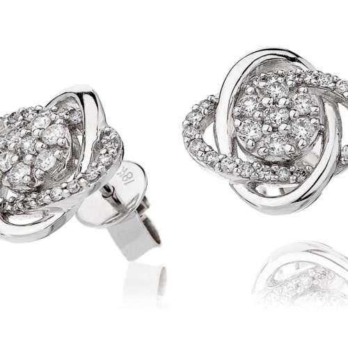 Diamond Swirl Stud Earrings