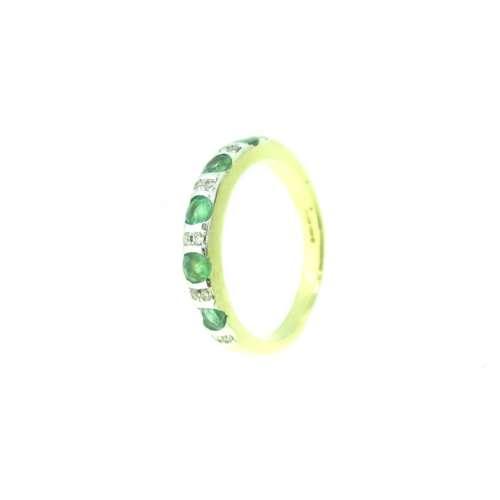 Emerald & Diamond Half Eternity Ring