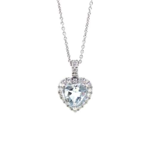 Aquamarine & Diamond Heart Necklace