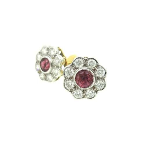 Ruby & Diamond Daisy Cluster Earrings
