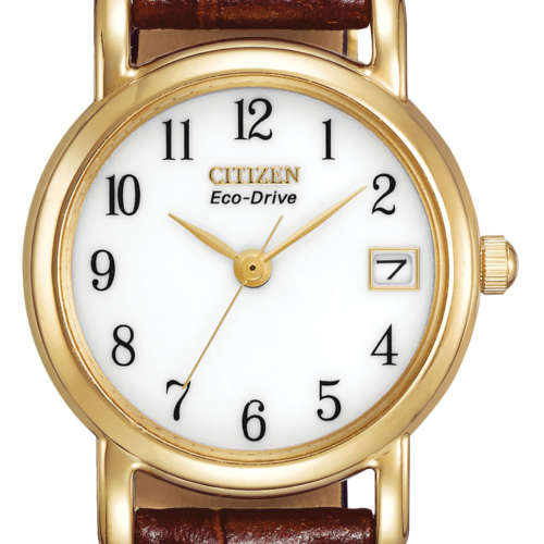 Ladies Eco-Drive Leather Strap Watch