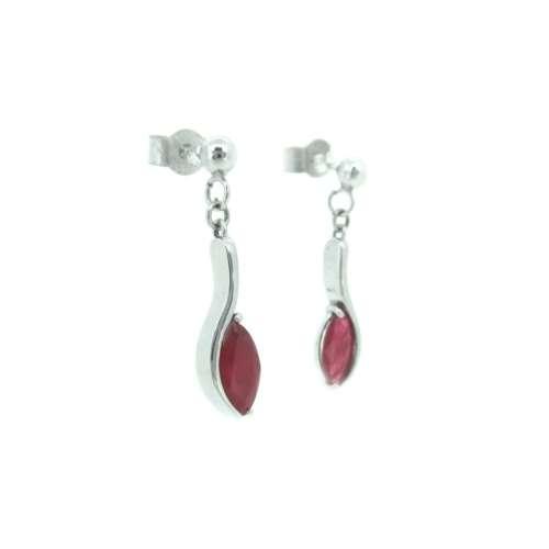 White Gold Ruby Drop Earrings