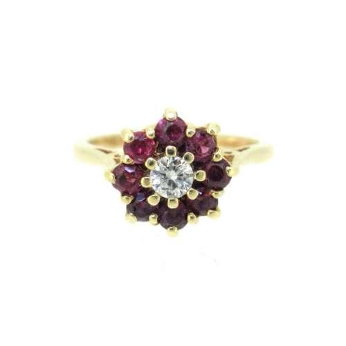 Ruby & Diamond Daisy Cluster Ring