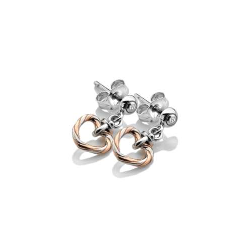 Breeze Heart Stud Earrings Rose Gold Plate Accents