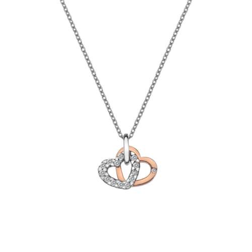 Love Double Heart Pendant Rose Gold Plate Accents