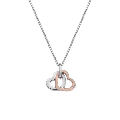 Love Double Heart Pendant With Rose Gold Plate Accents