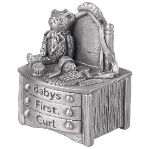 Pewter Baby's First Curl Keepsake Box
