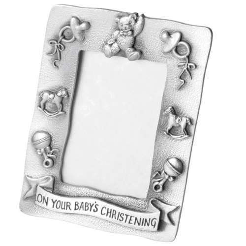 Pewter Baby's Christening Photo Frame