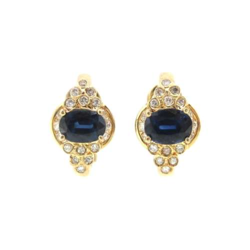 Sapphire & Diamond Clip-on Earrings