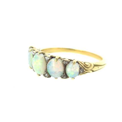 Antique Five Stone Opal & Diamond Ring