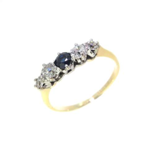 Antique Sapphire & Diamond Five Stone Ring