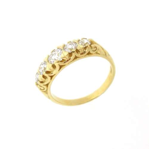 Old Cut Five Stone Diamond Ring