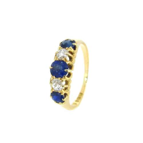 Antique Sapphire & Diamond Ring - Dated 1898