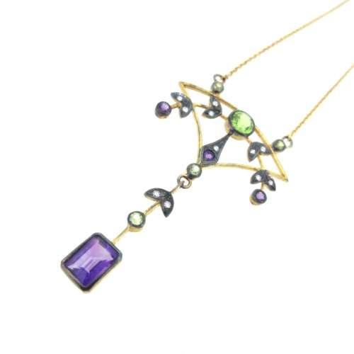 Peridot, Amethyst & Diamond Vintage Style Necklace
