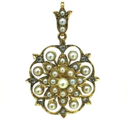 Antique Diamond & Pearl Pendant