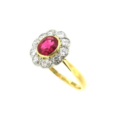 Antique Ruby & Diamond Daisy Cluster Ring