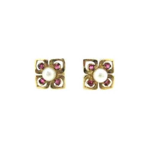 Ruby & Pearl Earrings