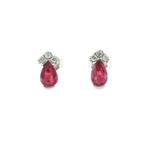 Ruby & Diamond Stud Earrings