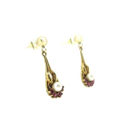 Ruby & Pearl Drop Earrings