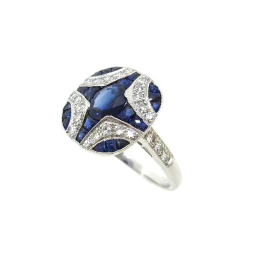 Art Deco Style Sapphire & Diamond Ring